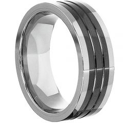 (Wholesale)Tungsten Carbide Double Grooves Ring - TG4291