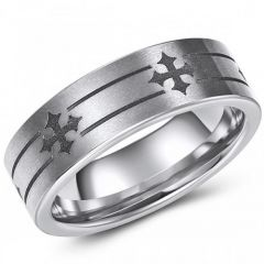 (Wholesale)Tungsten Carbide Pipe Cut Cross Ring - TG4293