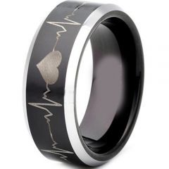 (Wholesale)Tungsten Carbide HeartBeat Beveled Edges Ring - TG4300
