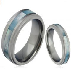 (Wholesale)Tungsten Carbide Abalone Shell Ring-4307
