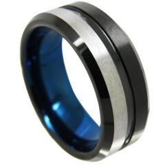 (Wholesale)Tungsten Carbide Black Blue Center Groove Ring-4345