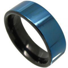 (Wholesale)Tungsten Carbide Black Blue Pipe Cut Ring - TG4348