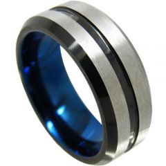 (Wholesale)Tungsten Carbide Black Blue Center Groove Ring-4349
