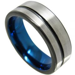 (Wholesale)Tungsten Carbide Black Blue Offset Groove Ring-4350