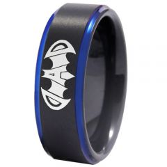 (Wholesale)Tungsten Carbide Black Blue Super Dad Bat Ring-4409