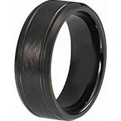 (Wholesale)Black Tungsten Carbide Sandblasted Ring - TG4415