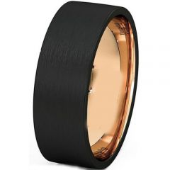 (Wholesale)Tungsten Carbide Black Rose Pipe Cut Ring-4455