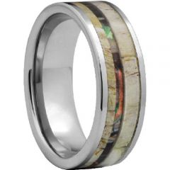 (Wholesale)Tungsten Carbide Deer Antler Camo Ring - TG4475