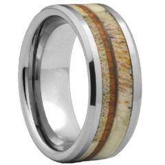 (Wholesale)Tungsten Carbide Deer Antler Wood Ring-4476