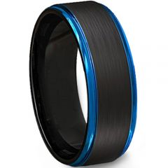 (Wholesale)Tungsten Carbide Black Blue Step Edges Ring-638