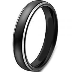 (Wholesale)Tungsten Carbide Dome Step Edges Ring - TG4533