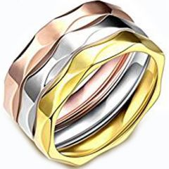 (Wholesale)Tungsten Carbide Silver/Rose/Gold Faceted Ring-4544