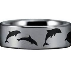 (Wholesale)Tungsten Carbide Dolphin Pipe Cut Ring - TG4554