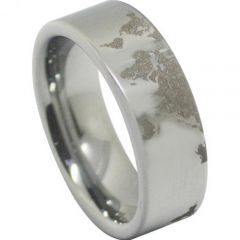(Wholesale)Tungsten Carbide Map Pipe Cut Ring - TG4556