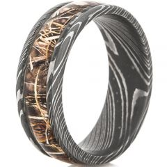 (Wholesale)Black Tungsten Carbide Damascus Ring With Camo-4565