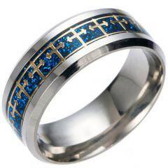(Wholesale)Tungsten Carbide Cross Inlays Carbon Fiber Ring-4595