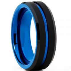 (Wholesale)Tungsten Carbide Black Blue Center Groove Ring-4602