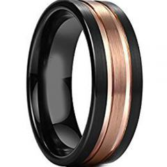 (Wholesale)Tungsten Carbide Black Rose Double Groove Ring-4613