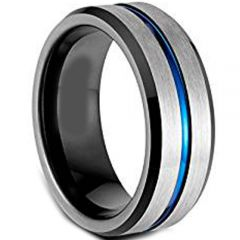 (Wholesale)Tungsten Carbide Black Blue Center Groove Ring-4616