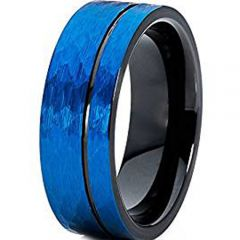 (Wholesale)Tungsten Carbide Black Blue Hammered Ring - TG4619