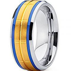 (Wholesale)Tungsten Carbide Blue Gold Center Groove Ring-4621