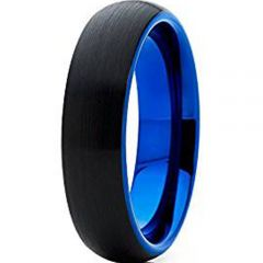 (Wholesale)Tungsten Carbide Black Blue Dome Ring - TG4637