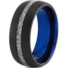 (Wholesale)Tungsten Carbide Black Blue Imitate Meteorite Ring-46