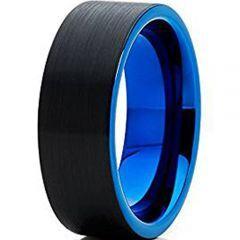 (Wholesale)Tungsten Carbide Black Bue Pipe Cut Ring - TG4647
