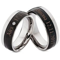 (Wholesale)Tungsten Carbide Ring With Custom Engraving-4703
