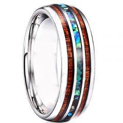 (Wholesale)Tungsten Carbide Wood Abalone Shell Ring - TG4727
