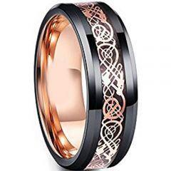 (Wholesale)Tungsten Carbide Black Rose Dragon Ring-TG4729