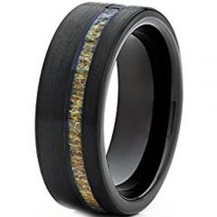 (Wholesale)Black Tungsten Carbide Deer Antler Ring - TG4733A