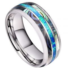 (Wholesale)Tungsten Carbide Abalone Shell Ring-4737