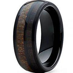 (Wholesale)Black Tungsten Carbide Deer Antler Wood Ring - TG4738
