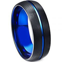 (Wholesale)Tungsten Carbide Black Blue Center Groove Ring-4745