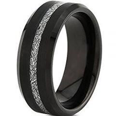 (Wholesale)Black Tungsten Carbide Imitate Meteorite Ring-TG4747