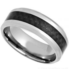 (Wholesale)Tungsten Carbide Ring With Carbon Fiber-TG628