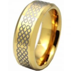 (Wholesale)Tungsten Carbide Celtic Beveled Edges Ring - TG2832AA