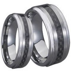 (Wholesale)Tungsten Carbide Ring With Carbon Fiber-TG710