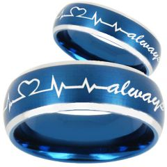 (Wholesale)Tungsten Carbide HeartBeat Always Ring - TG810