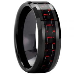 (Wholesale)Black Tungsten Carbide Carbon Fiber Ring-TG3693