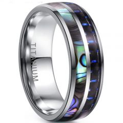 (Wholsale)Tungsten Carbide Abalone Shell Ring-3955