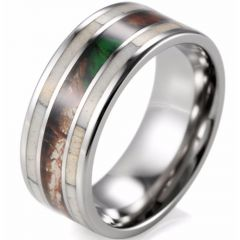 (Wholesale)Tungsten Carbide Deer Antler Camo Ring - 1273