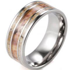 (Wholesale)Tungsten Carbide Camo Deer Antler Ring - 1992
