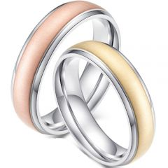 (Wholesale)Tungsten Carbide Gold/Rose Step Edges Ring-2358