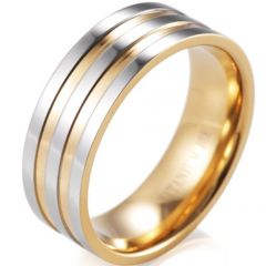 (Wholesale)Tungsten Carbide Double Grooves Ring - 2495