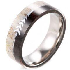 (Wholesale)Tungsten Carbide Wood Imitate Meteorite Ring - 2598