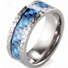 (Wholesale)Tungsten Carbide Hammered Carbon Fiber Ring - 2999