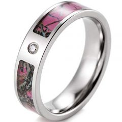 (Wholesale)Tungsten Carbide Camo Ring With CZ - 3319