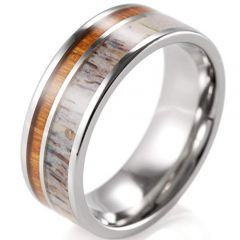 (Wholesale)Tungsten Carbide Deer Antler Wood Ring-3350
